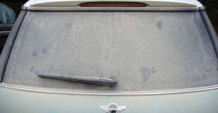 Dirty Back window of car